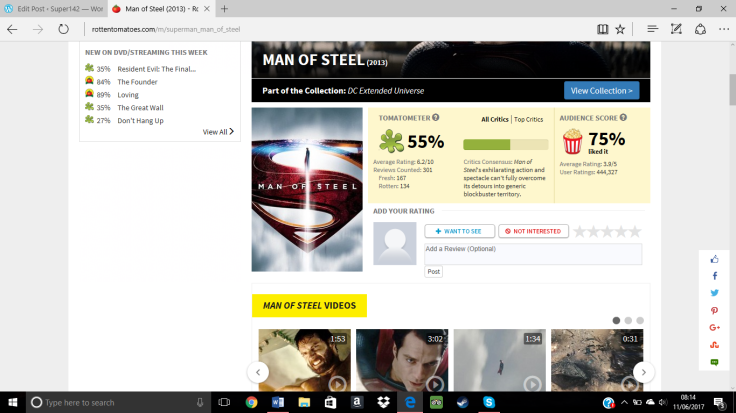 Man of steel rotten tomatoes